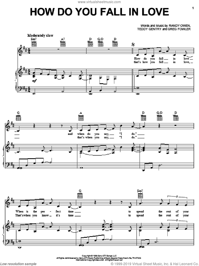 How Do You Fall In Love sheet music for voice, piano or guitar by Alabama and Randy Owen. Score Image Preview.