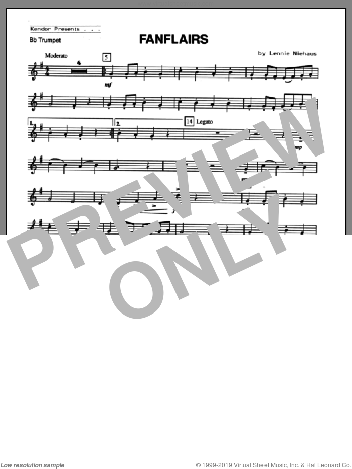 Fanflairs (complete set of parts) sheet music for trumpet and piano by Lennie Niehaus, classical score, intermediate skill level