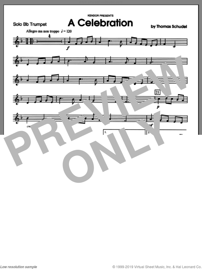 Celebration, A (complete set of parts) sheet music for trumpet and piano by Schudel, classical score, intermediate. Score Image Preview.