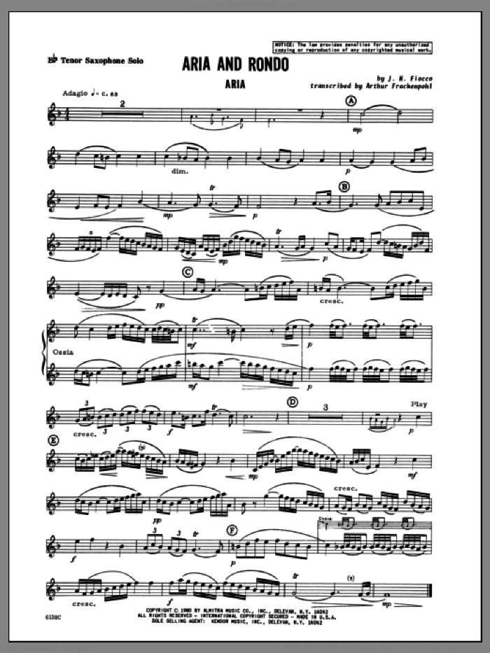 Aria And Rondo (complete set of parts) sheet music for tenor saxophone and piano by Joseph Hector Fiocco and Arthur Frackenpohl, classical score, intermediate. Score Image Preview.