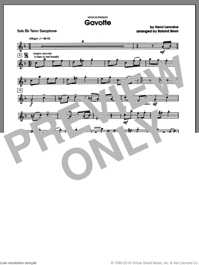Gavotte (complete set of parts) sheet music for tenor saxophone and piano by Brom and Lemoine, classical score, intermediate skill level
