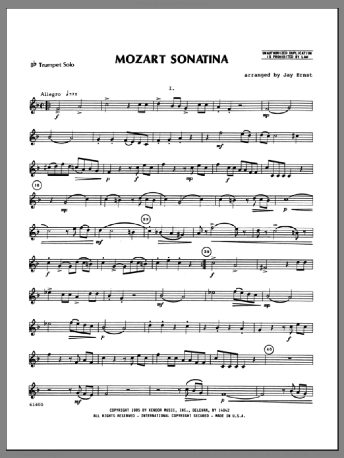 Mozart Sonatina (complete set of parts) sheet music for trumpet and piano by Wolfgang Amadeus Mozart and Ernst, Heinrich Wilhelm, classical score, intermediate skill level