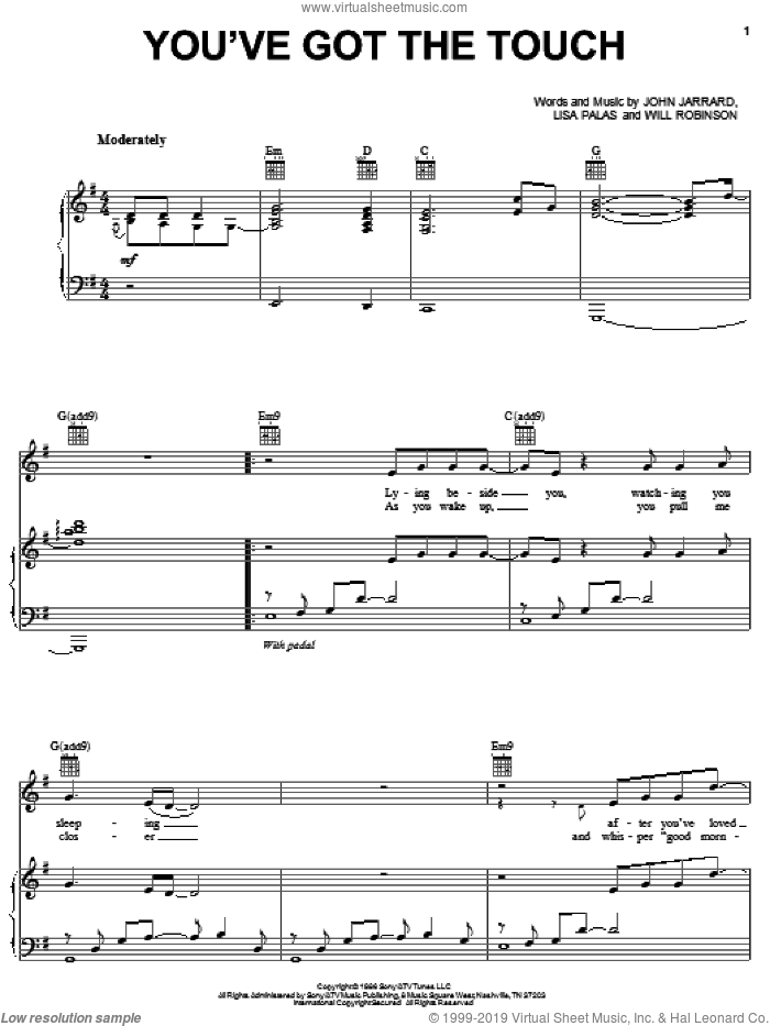 You've Got The Touch sheet music for voice, piano or guitar by Alabama, John Jarrard, Lisa Palas and Will Robinson, intermediate. Score Image Preview.