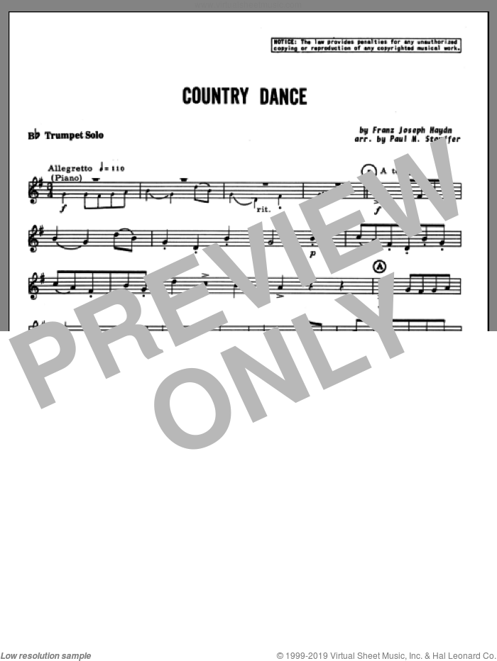 Country Dance (complete set of parts) sheet music for trumpet and piano by Franz Joseph Haydn and Stouffer, classical score, intermediate