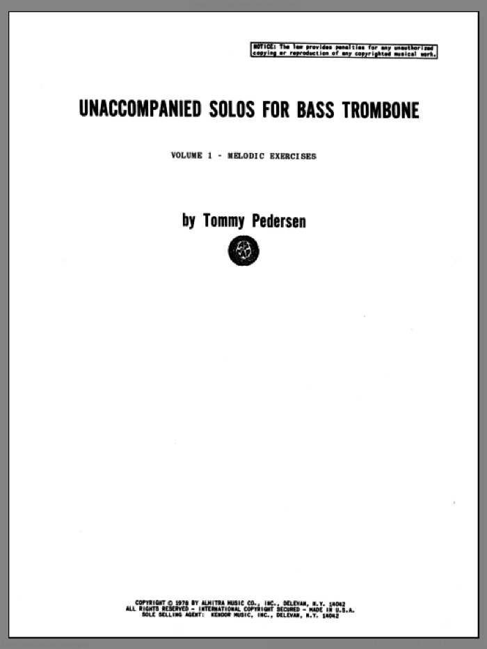 Unaccompanied Solos For Bass Trombone, Volume 1 sheet music for bass trombone by Pederson. Score Image Preview.