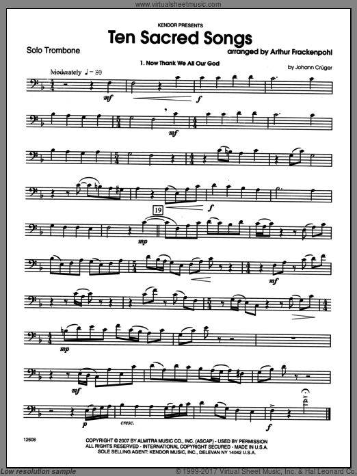 Ten Sacred Songs (COMPLETE) sheet music for trombone and piano by Arthur Frackenpohl