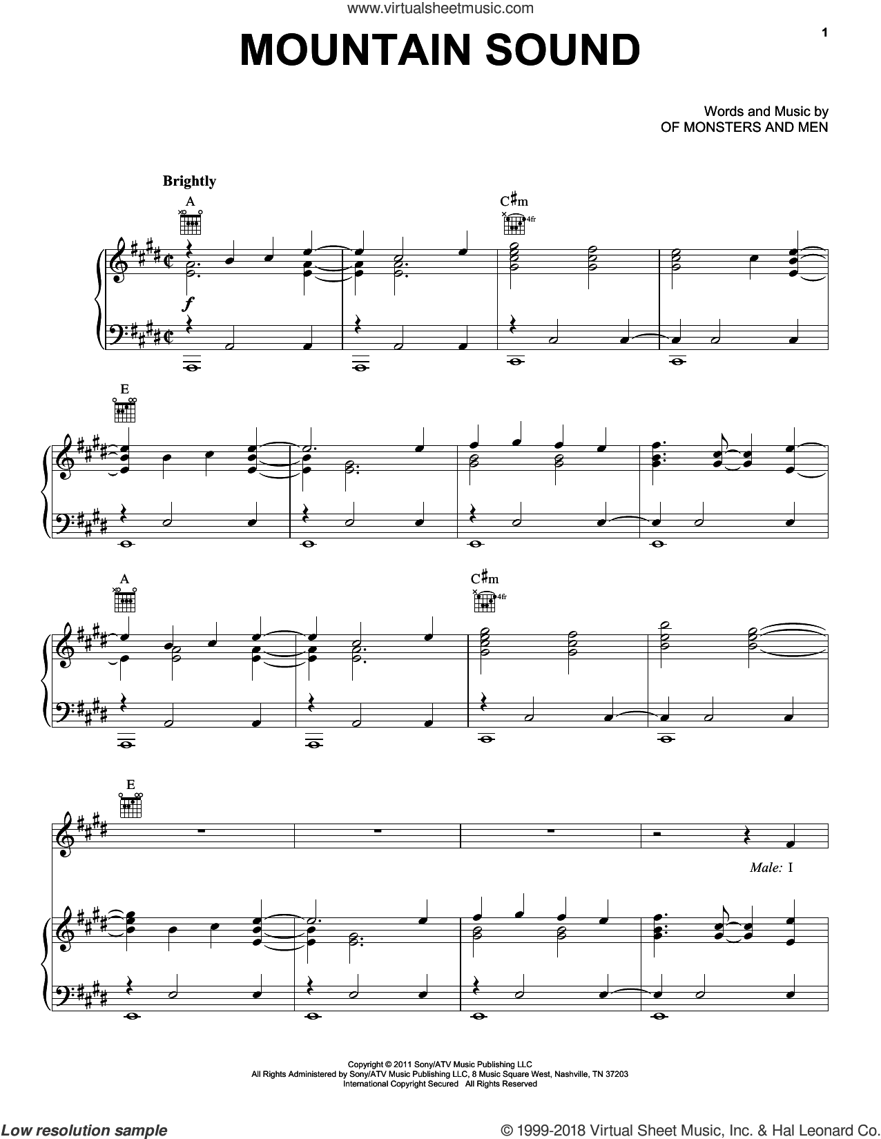 Mountain Sound sheet music for voice, piano or guitar by Of Monsters And Men. Score Image Preview.
