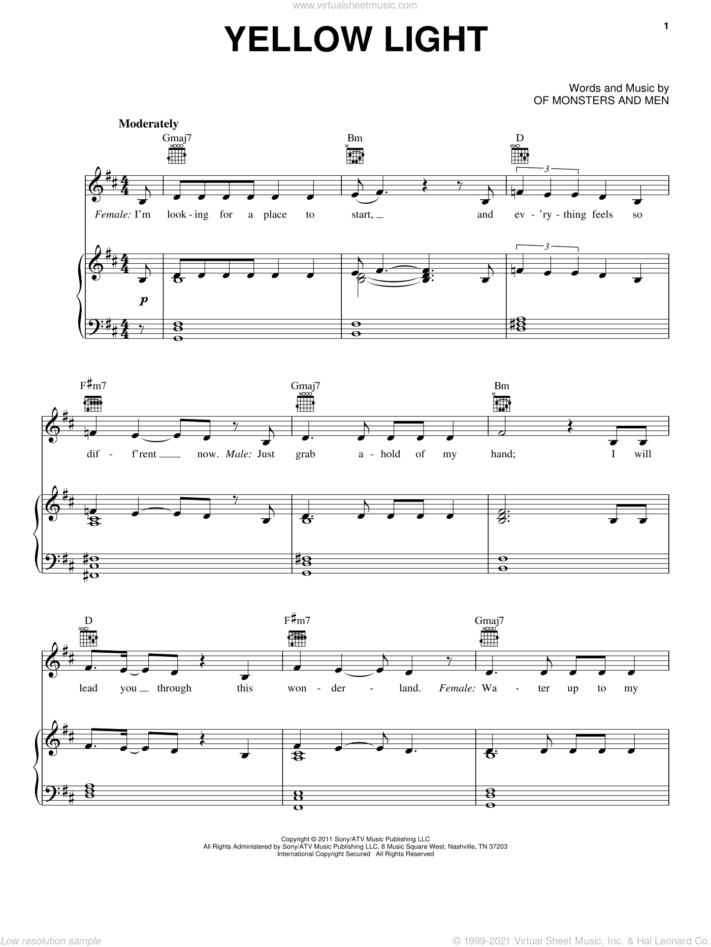 Yellow Light sheet music for voice, piano or guitar by Of Monsters And Men, intermediate skill level