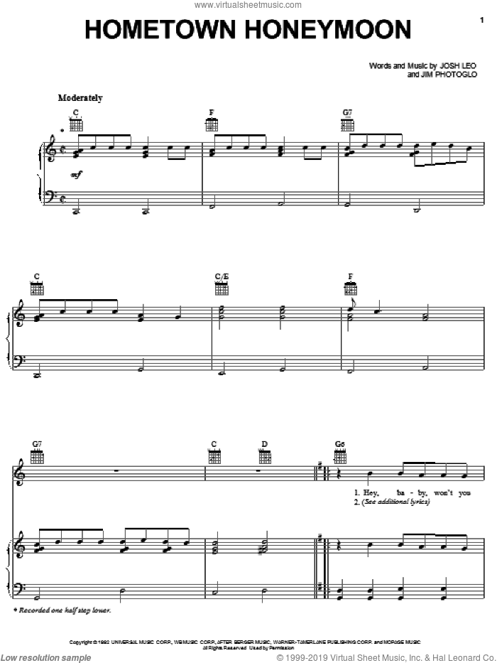 Hometown Honeymoon sheet music for voice, piano or guitar by Josh Leo, Alabama and Jim Photoglo. Score Image Preview.