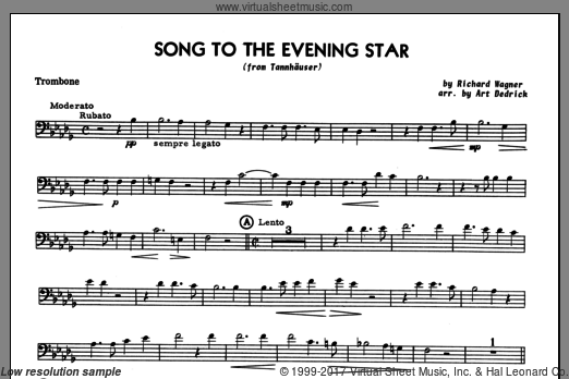 Song To The Evening Star (COMPLETE) sheet music for trombone and piano by Richard Wagner