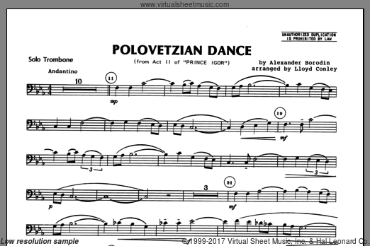 Polovetzian Dance (from Act II of Prince Igor) (COMPLETE) sheet music for trombone and piano by Alexander Borodin