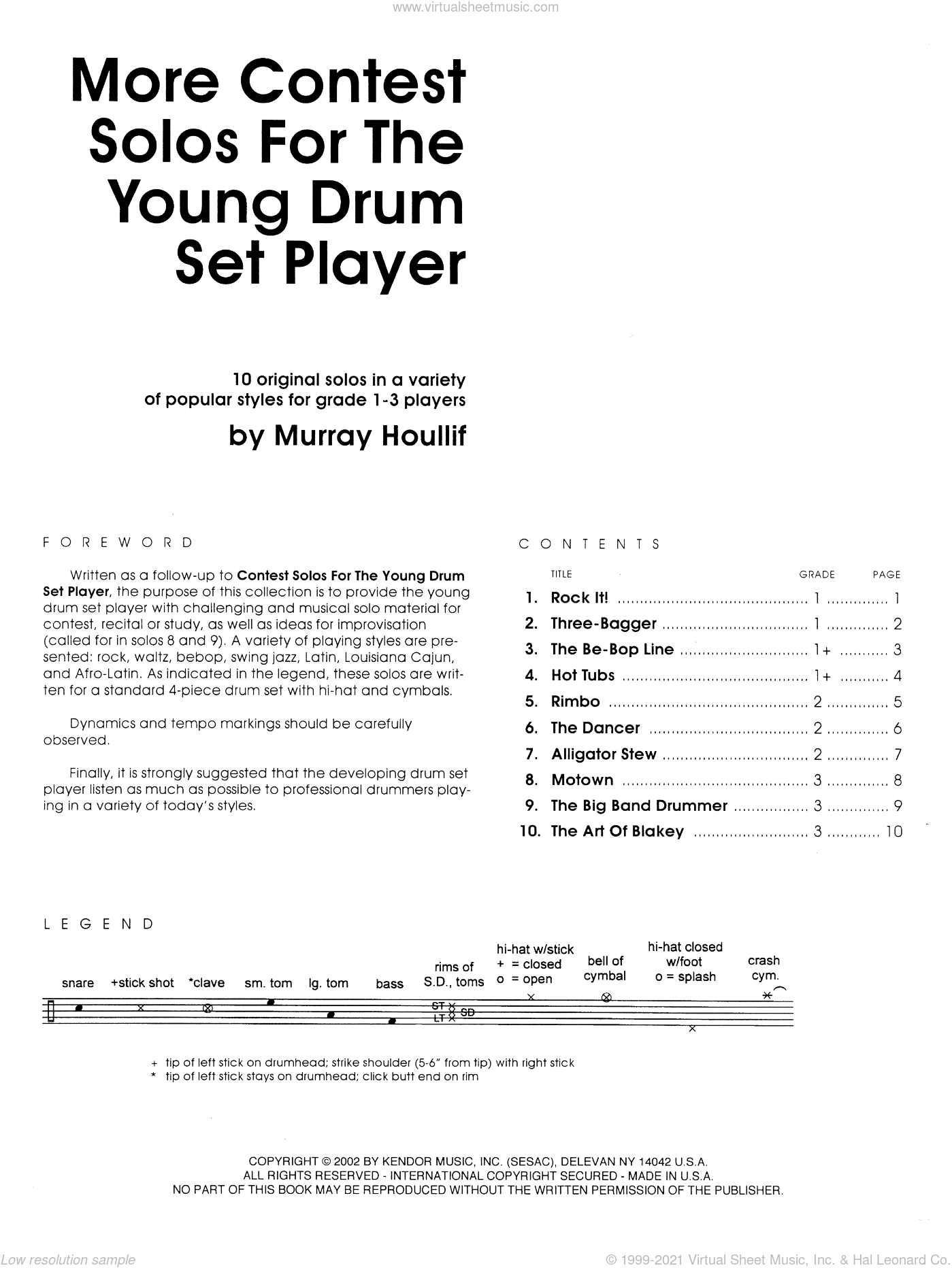 More Contest Solos For The Young Drum Set Player sheet music for percussions by Houllif, classical score, intermediate skill level