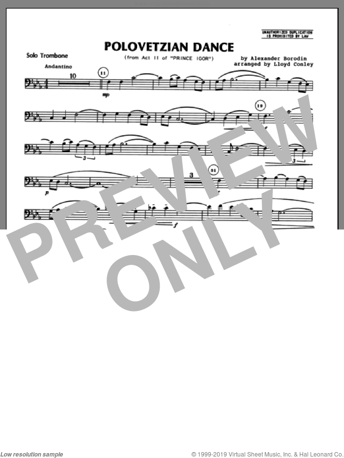 Polovetzian Dance (from Act II of Prince Igor) (complete set of parts) sheet music for trombone and piano by Alexander Borodin and Lloyd Conley, classical score, intermediate skill level