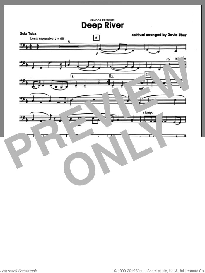 Deep River (complete set of parts) sheet music for tuba and piano by Uber and Miscellaneous, classical score, intermediate skill level