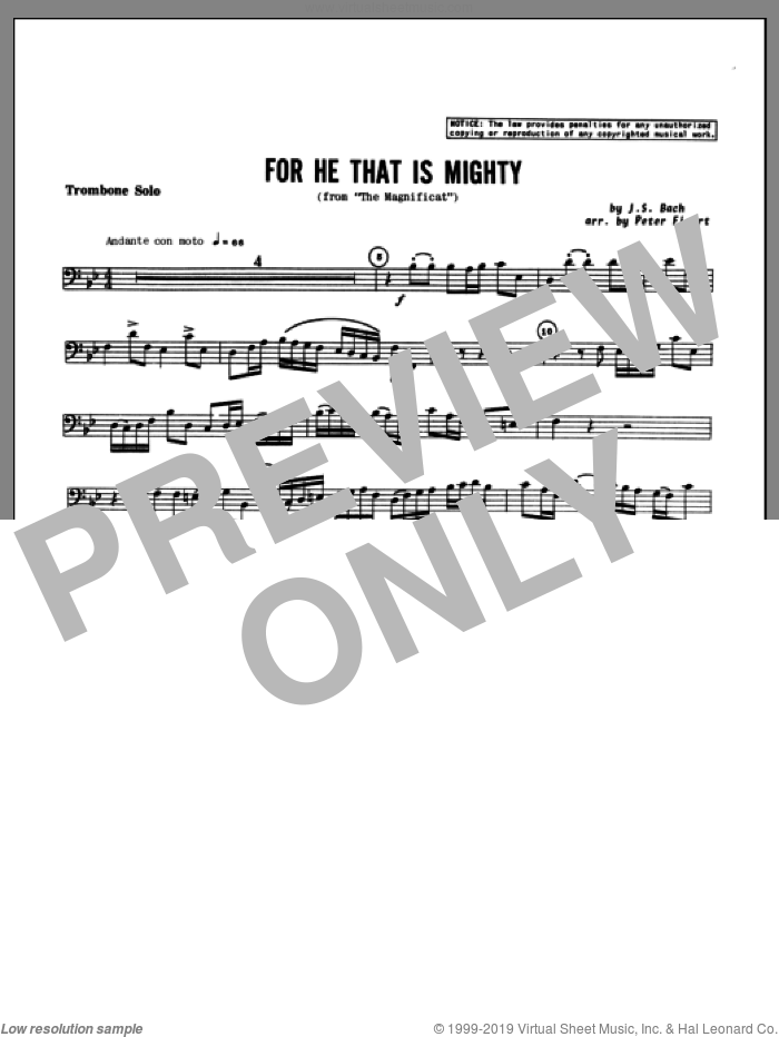 For He That Is Mighty (complete set of parts) sheet music for trombone and piano by Johann Sebastian Bach and Figert, classical score, intermediate skill level