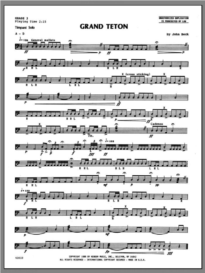 Grand Teton sheet music for percussions by Beck Hansen