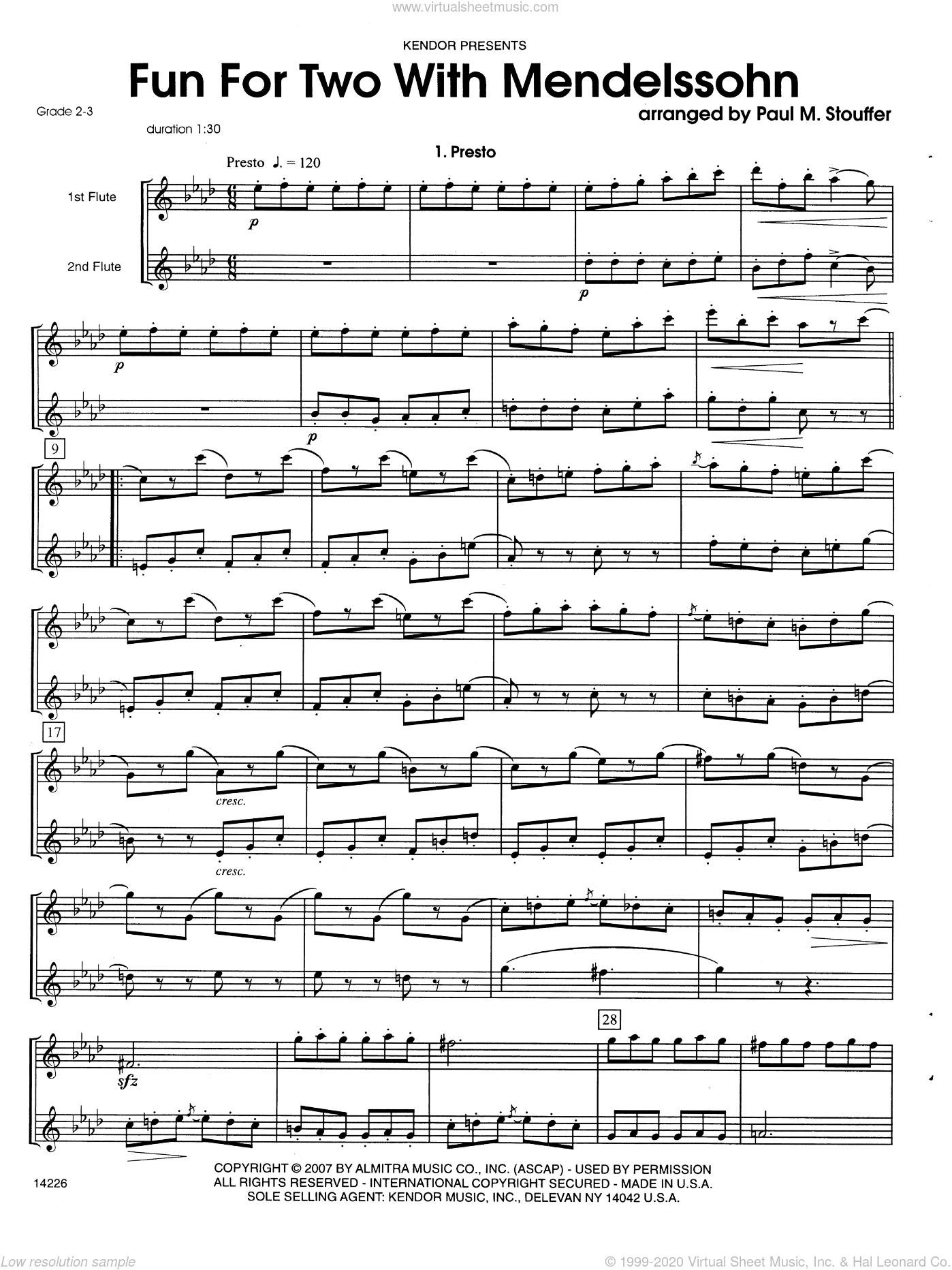 Fun For Two With Mendelssohn sheet music for two flutes by Felix Mendelssohn-Bartholdy and Stouffer. Score Image Preview.