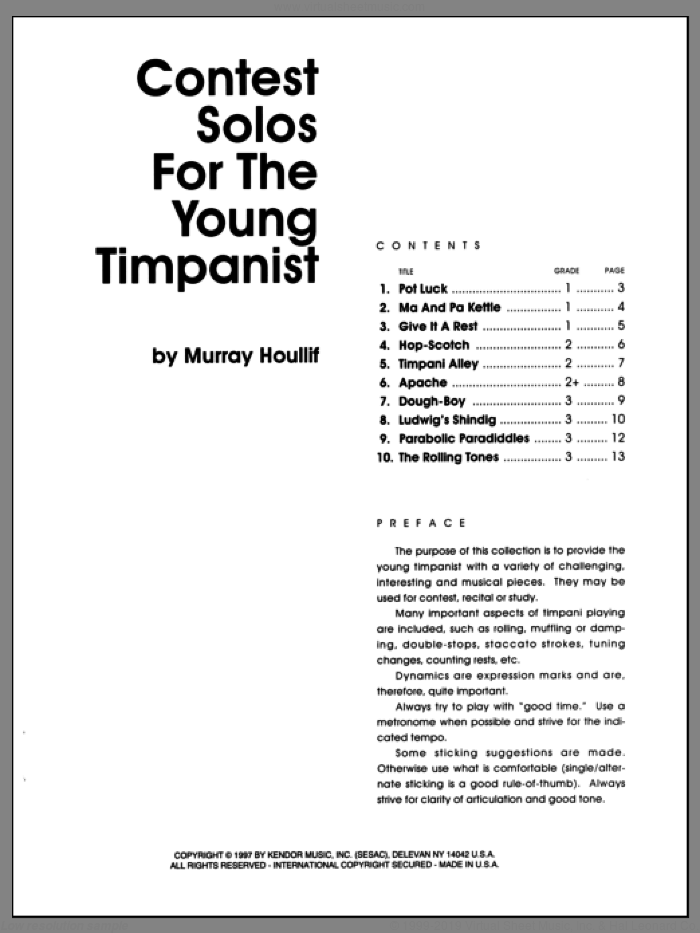 Contest Solos For The Young Timpanist sheet music for percussions by Houllif. Score Image Preview.