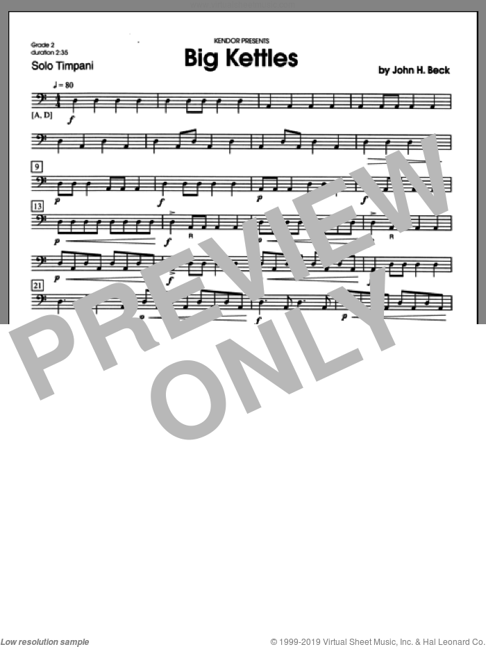 Big Kettles sheet music for percussions by Beck Hansen, classical score, intermediate percussions. Score Image Preview.