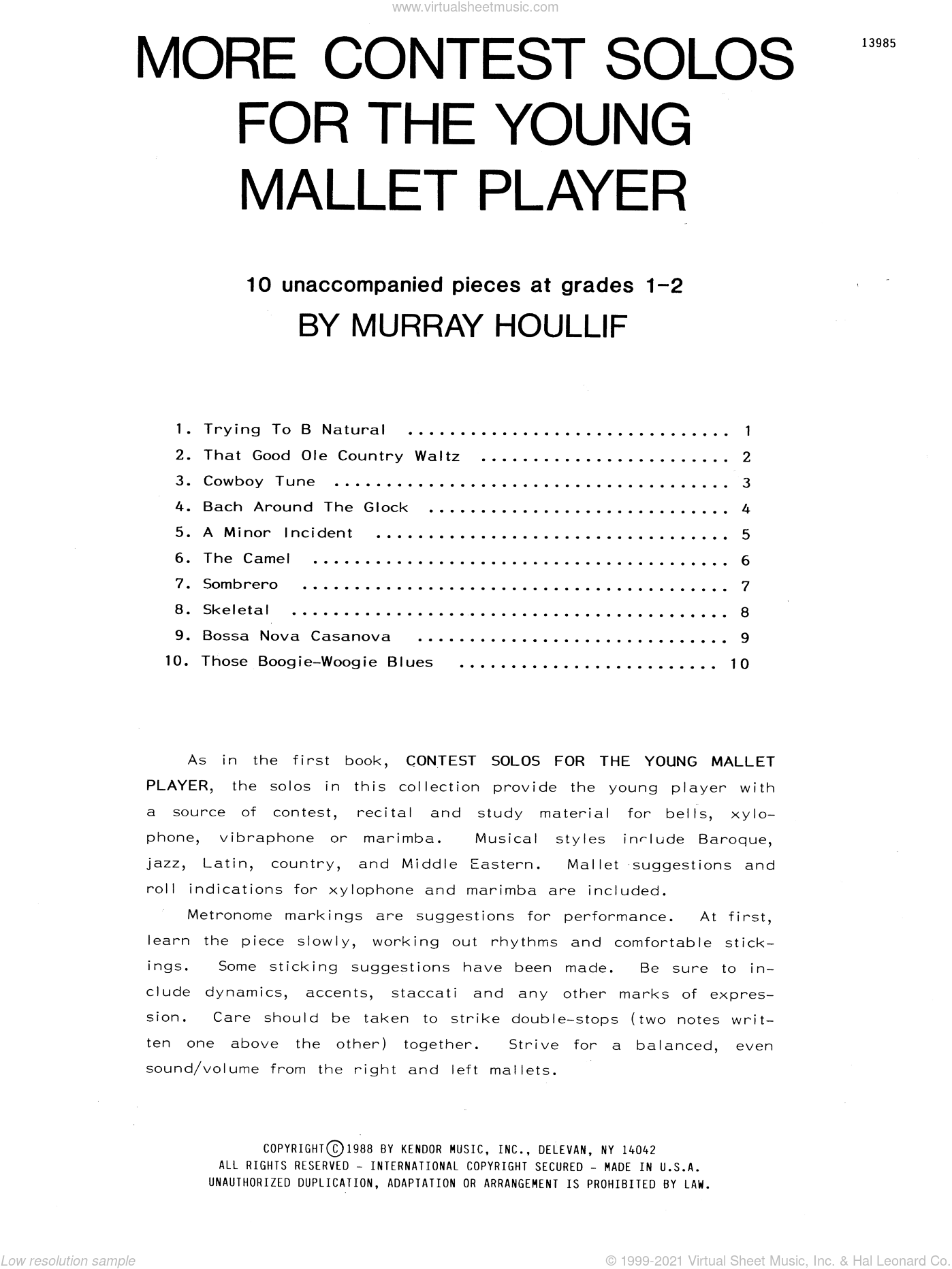 More Contest Solos For The Young Mallet Player sheet music for percussions by Houllif. Score Image Preview.