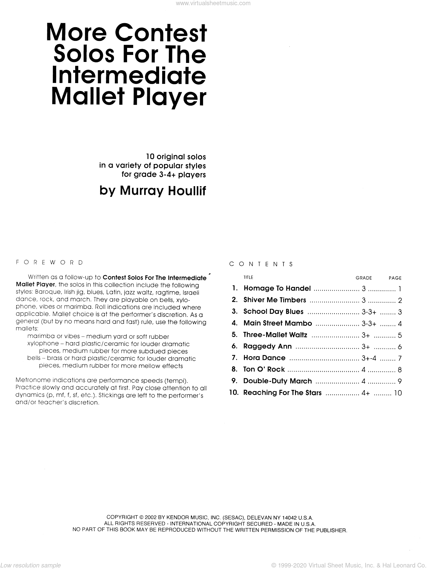 More Contest Solos For The Intermediate Mallet Player sheet music for percussions by Houllif, classical score, intermediate skill level