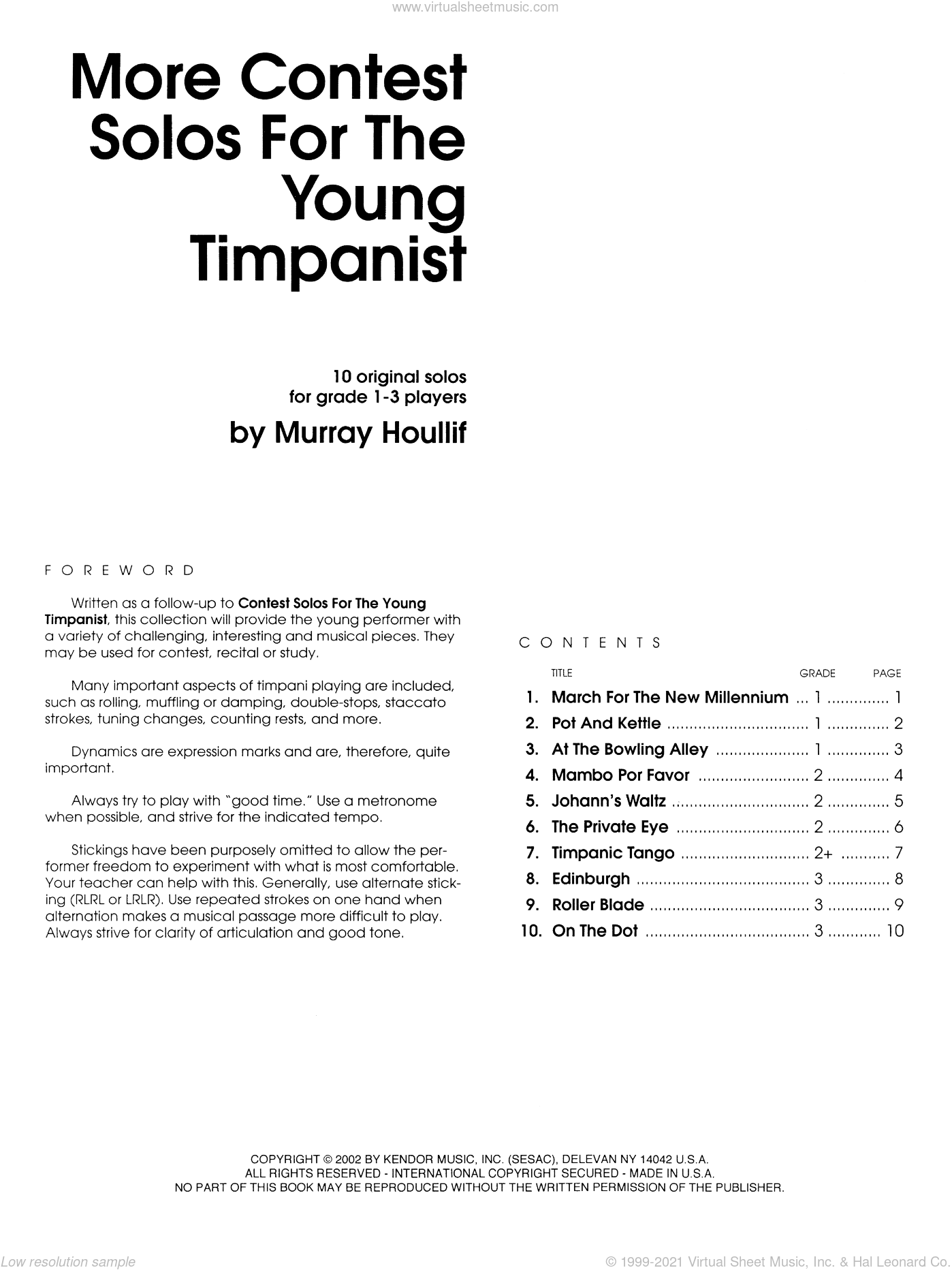 More Contest Solos For The Young Timpanist sheet music for percussions by Houllif, classical score, intermediate skill level