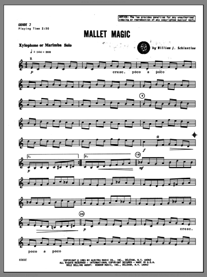 Mallet Magic sheet music for percussions by Schinstine. Score Image Preview.
