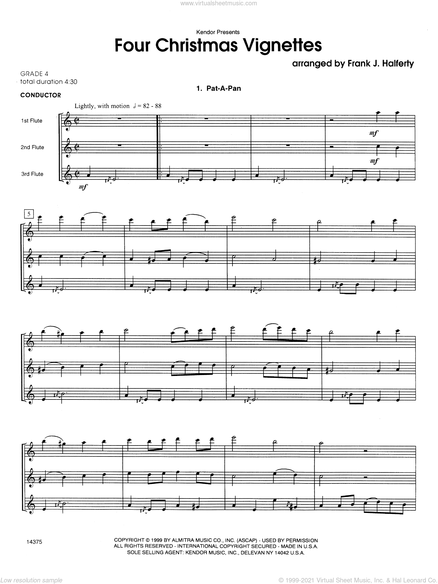 Four Christmas Vignettes sheet music for flute trio (full score) by Halferty