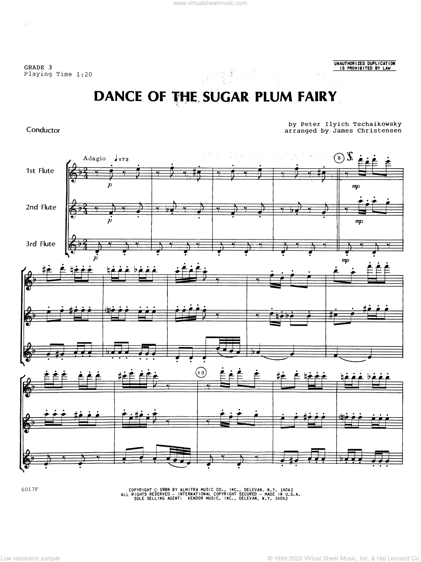 Dance Of The Sugar Plum Fairy sheet music for flute trio (full score) by Tschaikowsky