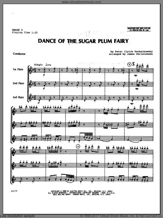 Dance Of The Sugar Plum Fairy (COMPLETE) sheet music for flute trio by Tschaikowsky