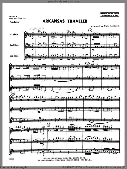 Arkansas Traveler (COMPLETE) sheet music for flute trio by Lombardo