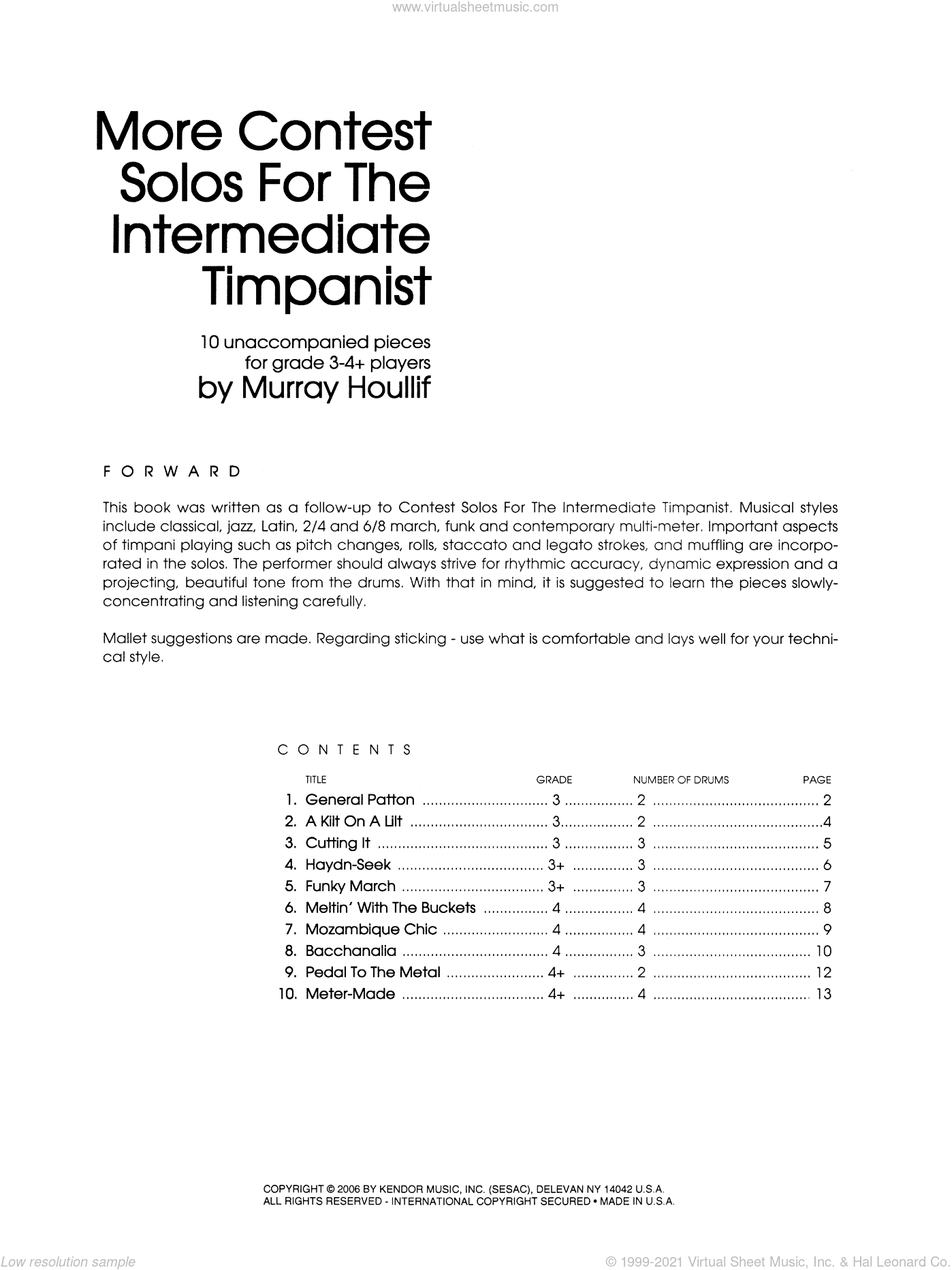 More Contest Solos For The Intermediate Timpanist sheet music for percussions by Houllif, classical score, intermediate skill level