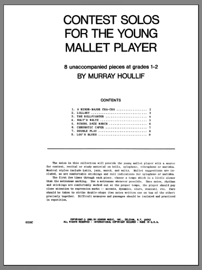 Contest Solos For The Young Mallet Player sheet music for percussions by Houllif. Score Image Preview.