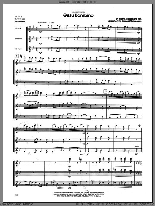 Gesu Bambino (COMPLETE) sheet music for flute trio by Yon