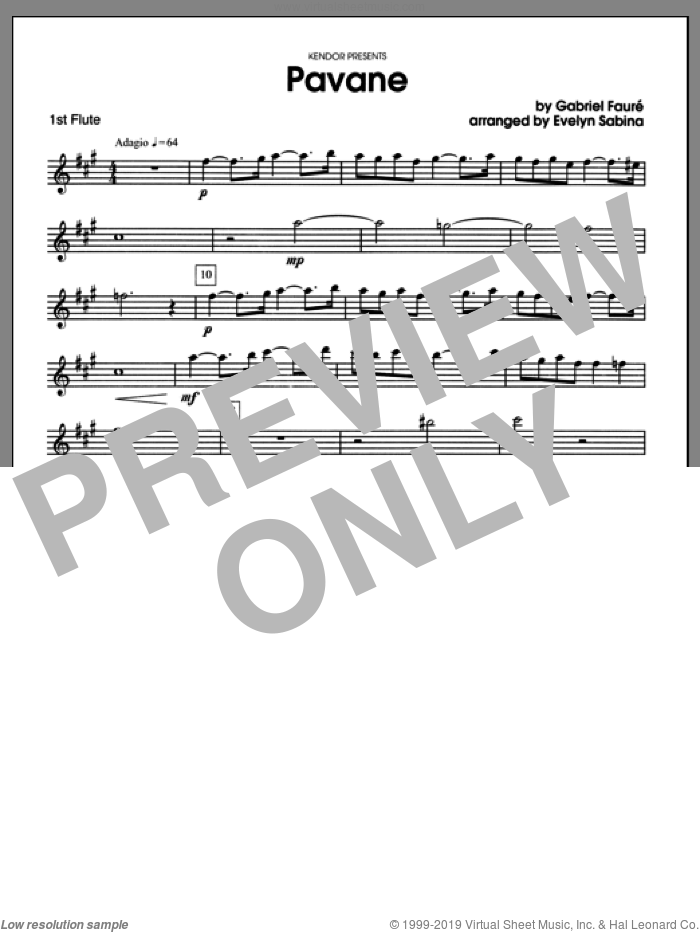 Pavane (complete set of parts) sheet music for two flutes and piano by Gabriel Faure and Evelyn Sabina, classical score, intermediate. Score Image Preview.