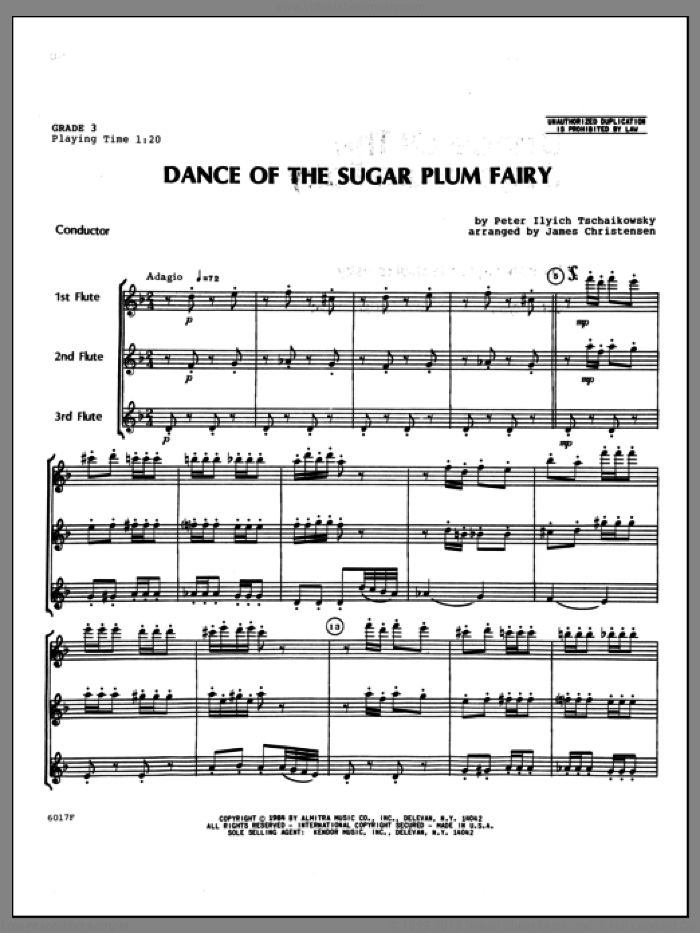 Dance Of The Sugar Plum Fairy (COMPLETE) sheet music for flute quartet by Christensen and Pyotr Ilyich Tchaikovsky, classical score, intermediate. Score Image Preview.