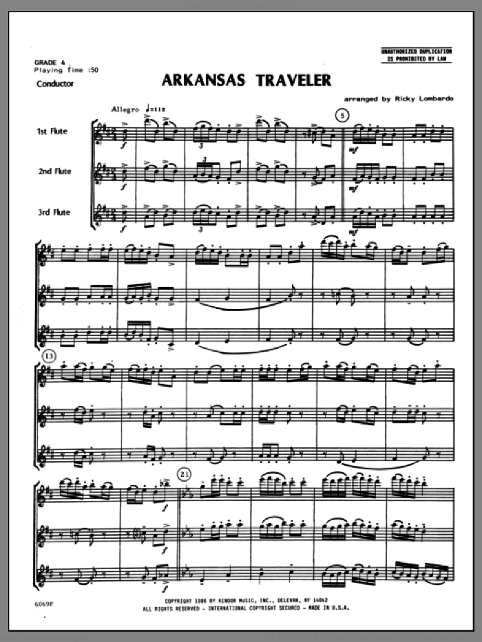 Arkansas Traveler (COMPLETE) sheet music for flute trio by Ricky Lombardo and Miscellaneous, classical score, intermediate skill level
