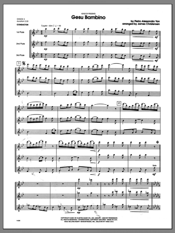 Gesu Bambino (COMPLETE) sheet music for flute quartet by Christensen and Yon, classical score, intermediate skill level