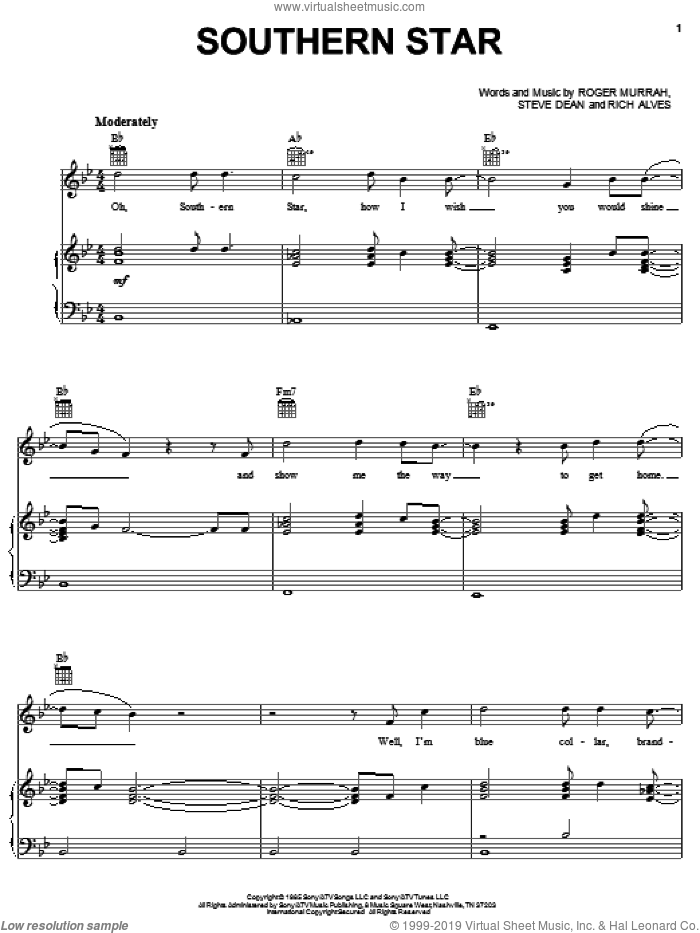 Southern Star sheet music for voice, piano or guitar by Steve Dean