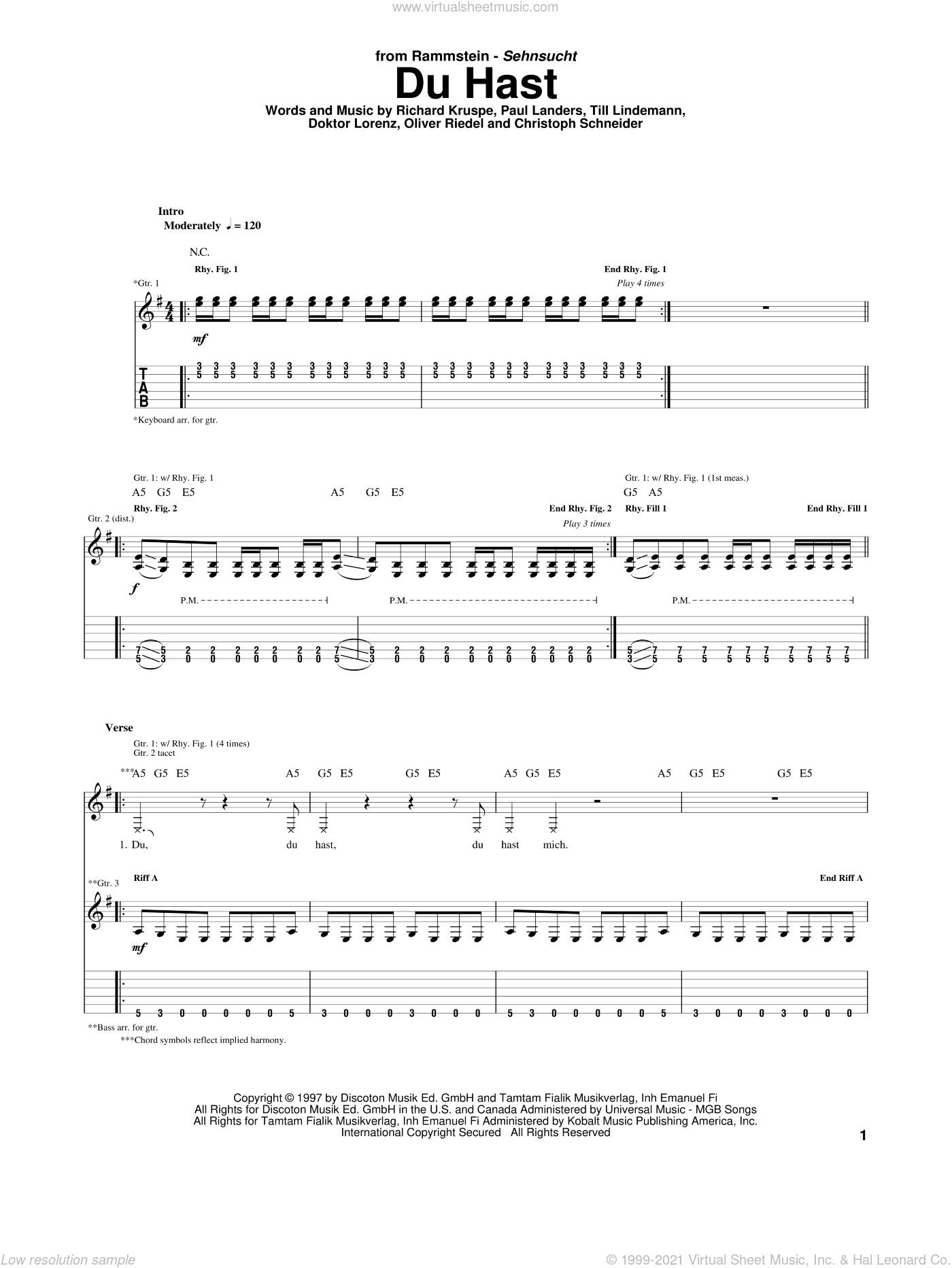 Du Hast sheet music for guitar (tablature) by Rammstein. Score Image Preview.