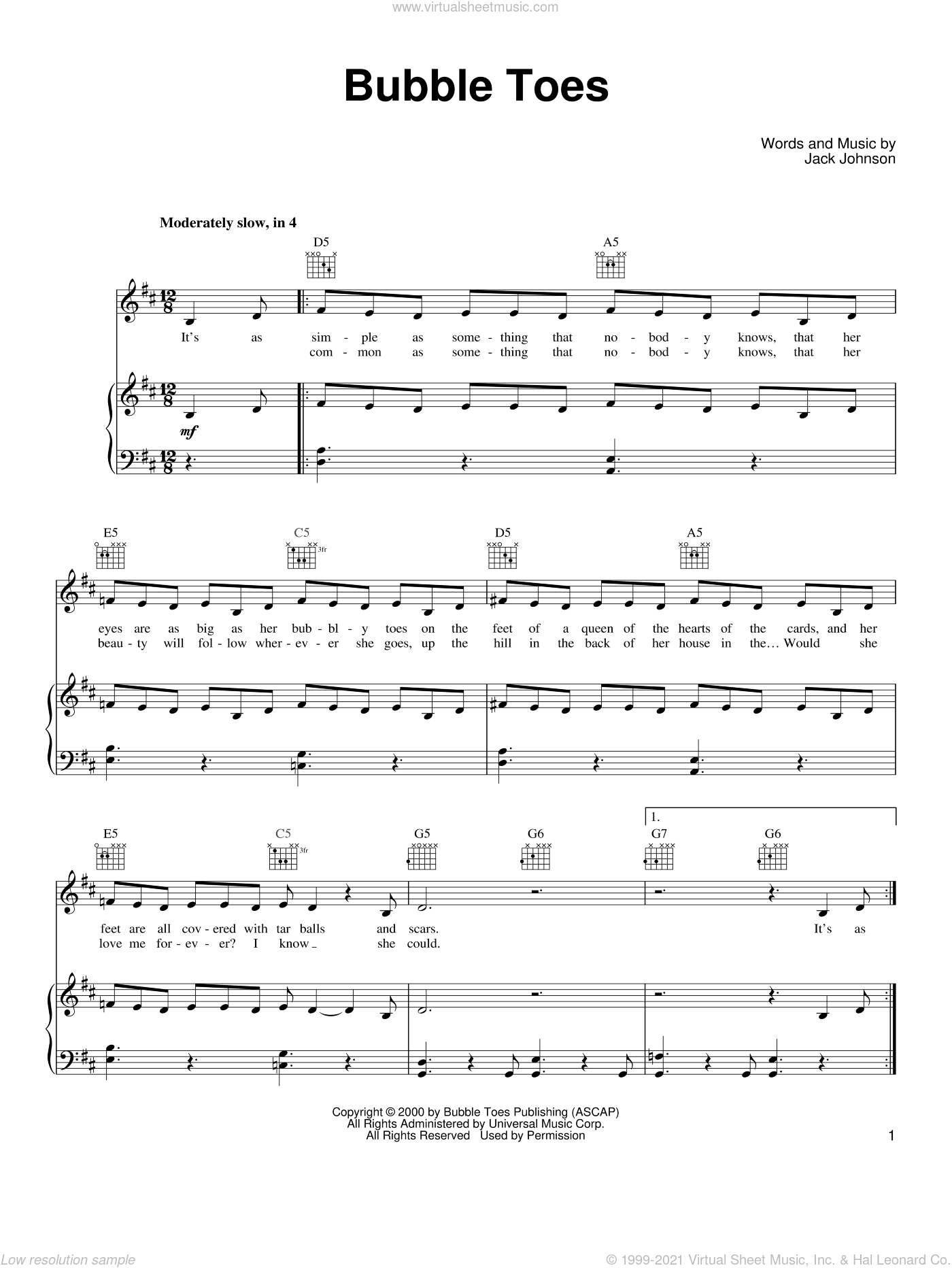 Bubble Toes sheet music for voice, piano or guitar by Jack Johnson, intermediate voice, piano or guitar. Score Image Preview.