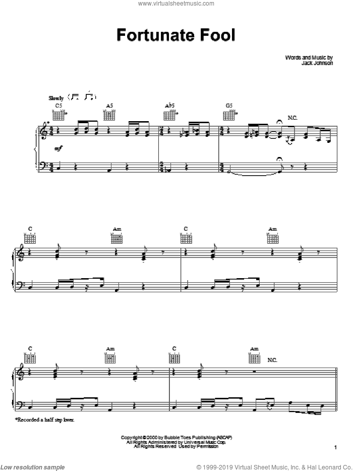 Fortunate Fool sheet music for voice, piano or guitar by Jack Johnson, intermediate skill level
