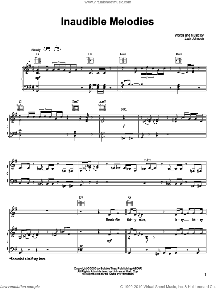 Inaudible Melodies sheet music for voice, piano or guitar by Jack Johnson, intermediate skill level