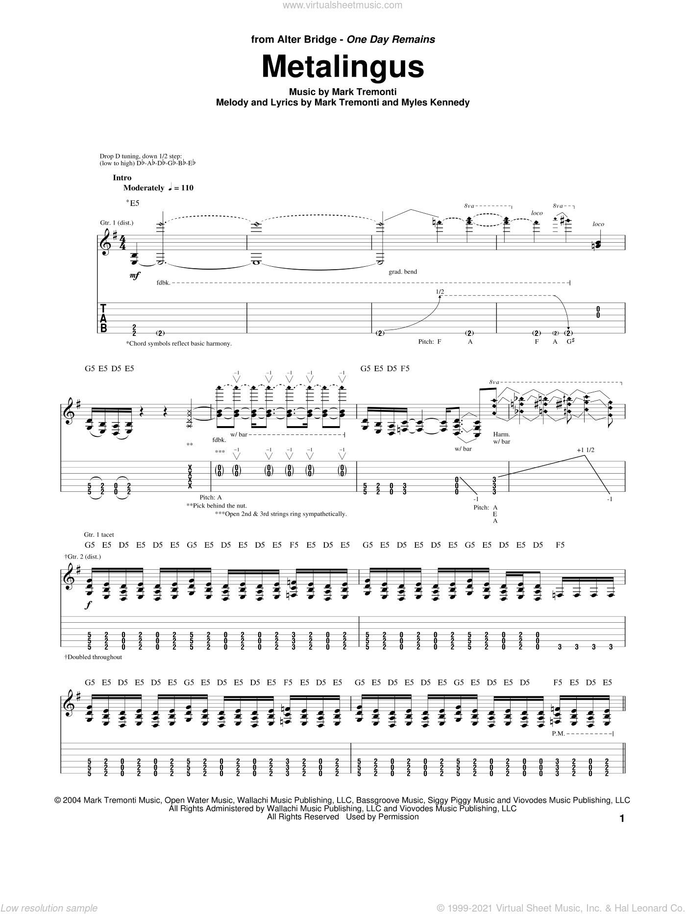 Metalingus sheet music for guitar (tablature) by Alter Bridge