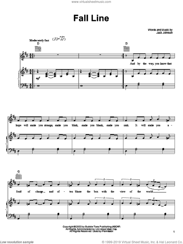 Fall Line sheet music for voice, piano or guitar by Jack Johnson. Score Image Preview.