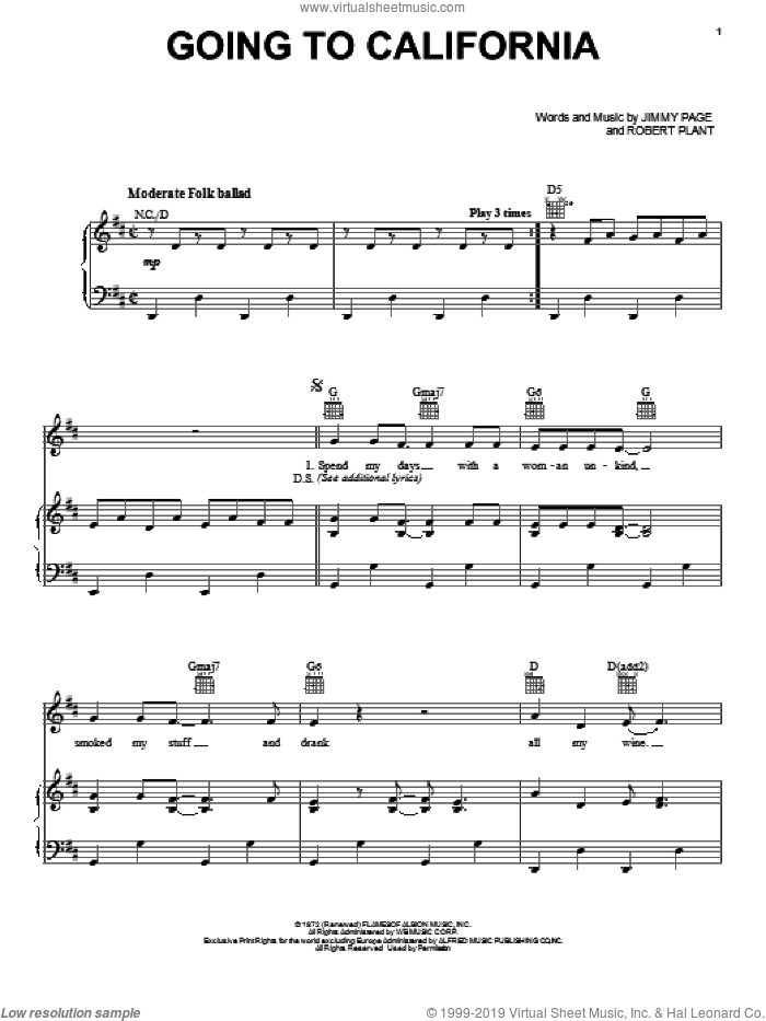Going To California sheet music for voice, piano or guitar by Led Zeppelin, Jimmy Page and Robert Plant, intermediate skill level