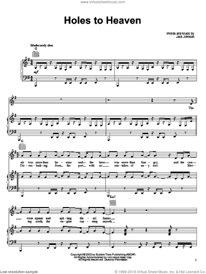 Holes To Heaven sheet music for voice, piano or guitar by Jack Johnson, intermediate skill level
