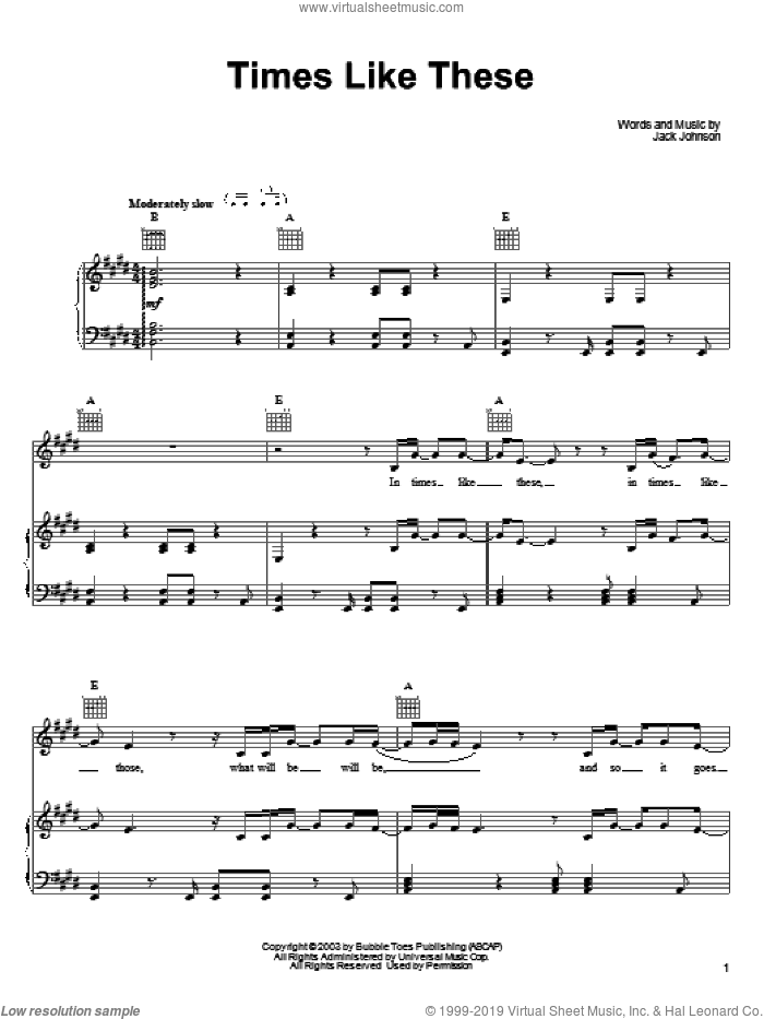 Times Like These sheet music for voice, piano or guitar by Jack Johnson. Score Image Preview.