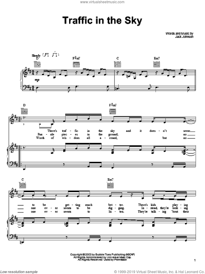 Traffic In The Sky sheet music for voice, piano or guitar by Jack Johnson, intermediate skill level