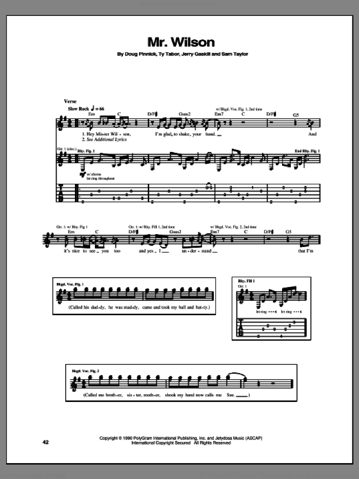 Mr. Wilson sheet music for guitar (tablature) by King's X, intermediate. Score Image Preview.